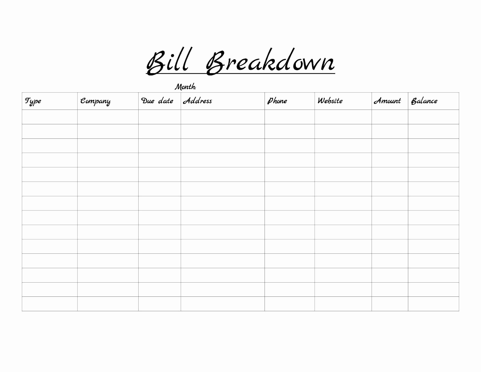Monthly Bill Due Date Template Elegant Monthly Bill Template Google Search