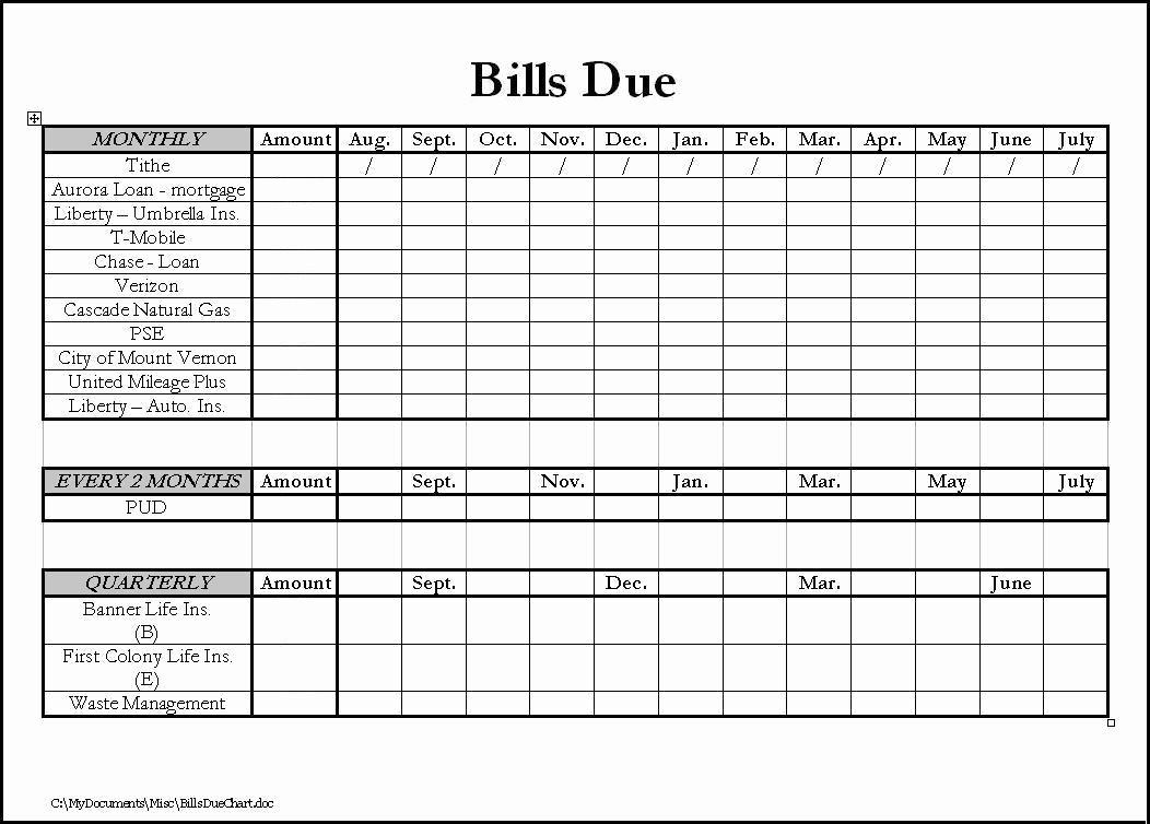 Monthly Bill Due Date Template Inspirational Bills Due Calendar Template