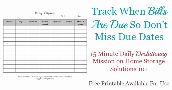 Monthly Bill Due Date Template Inspirational Printable Monthly Bill organizer to Make Sure You Pay
