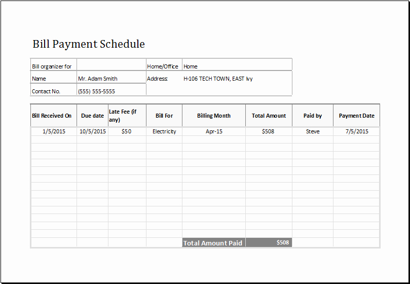 Monthly Bill Due Date Template Lovely Wonderful Monthly Bill organizer and Payment Schedule