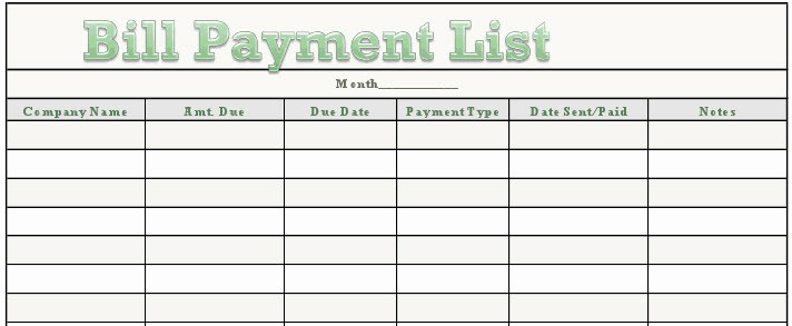 Monthly Bill Due Date Template Luxury Bill Payment Calendar Template Excel