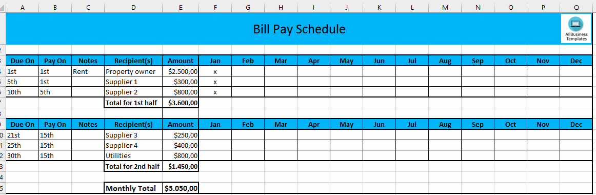 Monthly Bill Due Date Template Luxury Free Monthly Payment Schedule In Excel