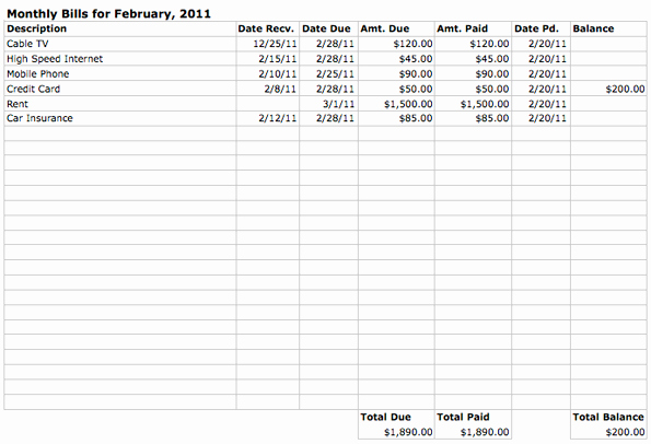 Monthly Bill Due Date Template New Monthly Bills Spreadsheet Template