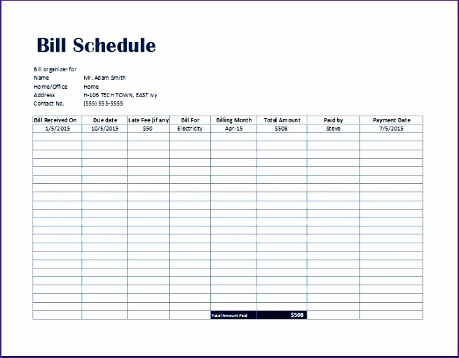 Monthly Bill Due Date Template Unique Simple Bill Payment organizer with Date Tracker Excel