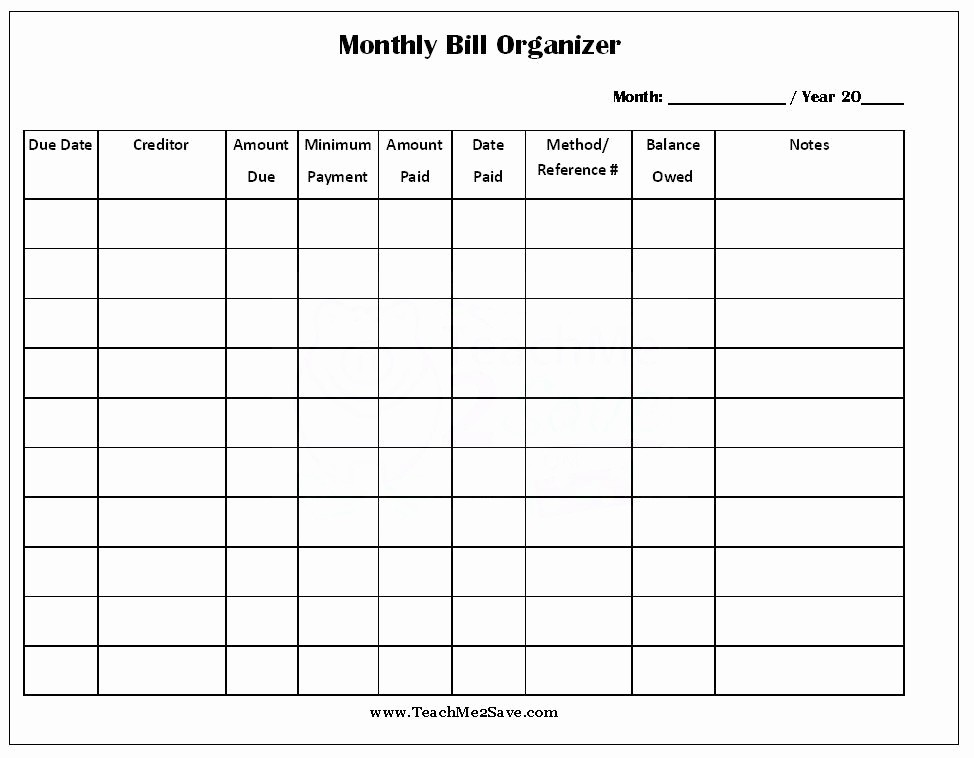 Monthly Bill Tracker Template Free Awesome Free Printable Monthly Bill organizer