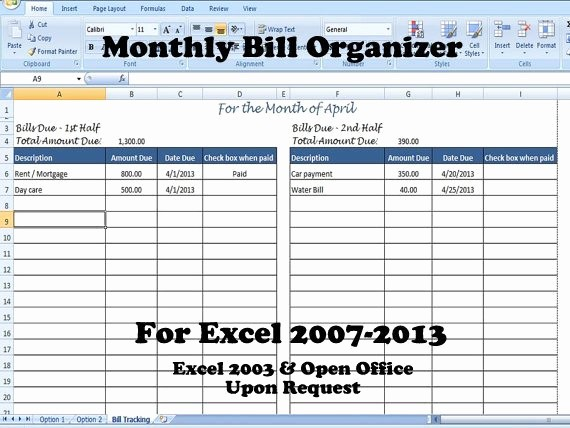 Monthly Bill Tracker Template Free Beautiful Monthly Bill organizer Bill Tracker Calculates total Due