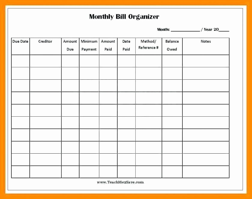 Monthly Bill Tracker Template Free Fresh Home Bill organizer Spreadsheet for Bills Monthly Bill