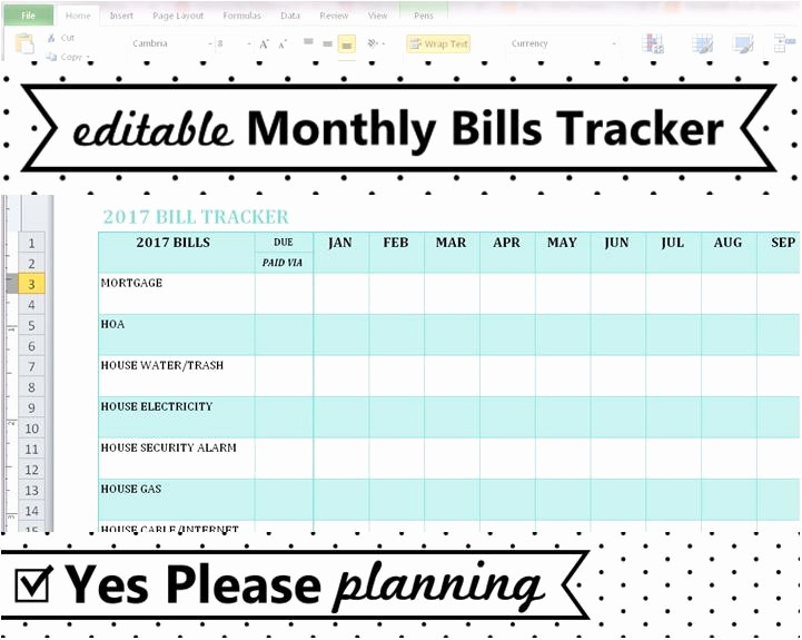 Monthly Bill Tracker Template Free Fresh Household Bill Tracker Monthly Bills Spreadsheet Bill