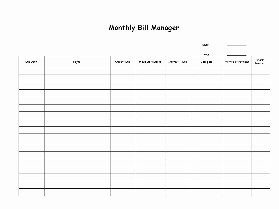 Monthly Bill Tracker Template Free Inspirational Bill Paying Archives Ellen S Blog Professional