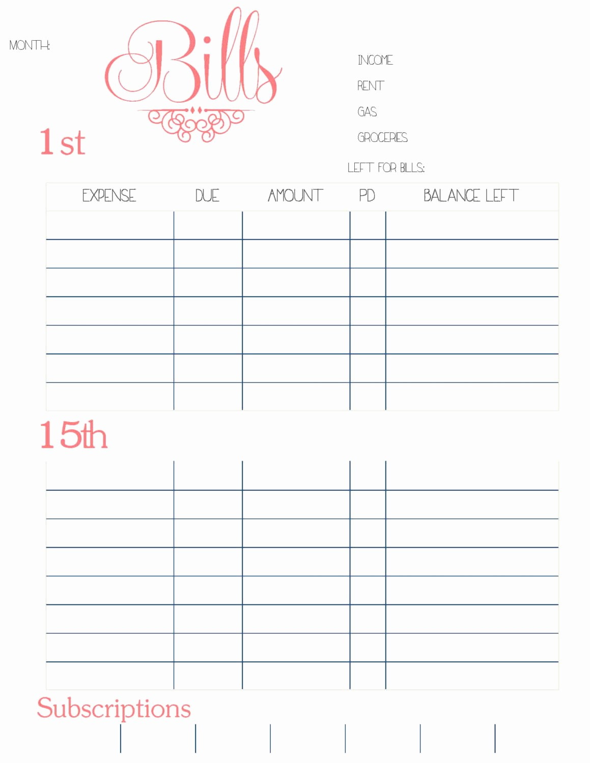 Monthly Bill Tracker Template Free Lovely Bud Planner Worksheet Monthly Bills Template Free Bill