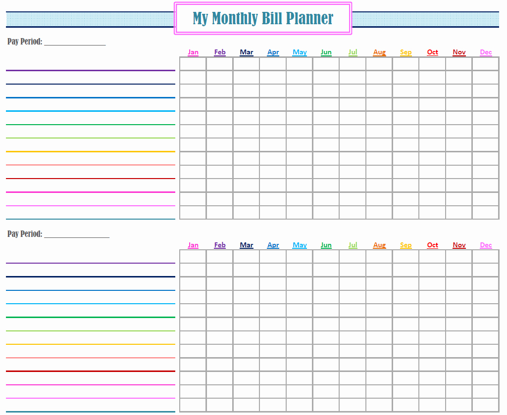 Monthly Bill Tracker Template Free Luxury New Monthly Bill Planner