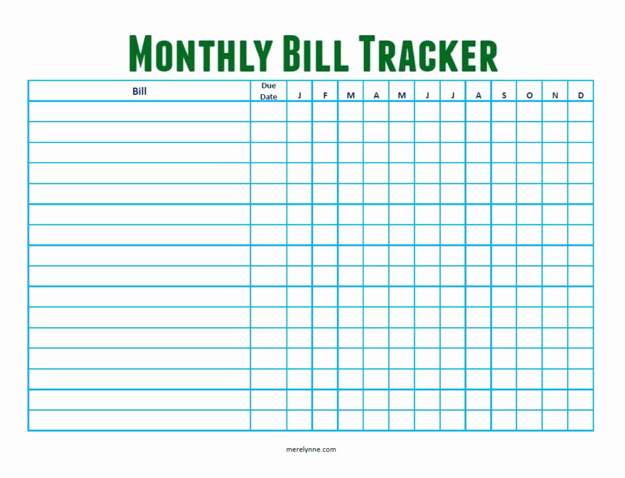 Monthly Bill Tracker Template Free Unique Monthly Bill Tracker From Merelynne Merelynne by