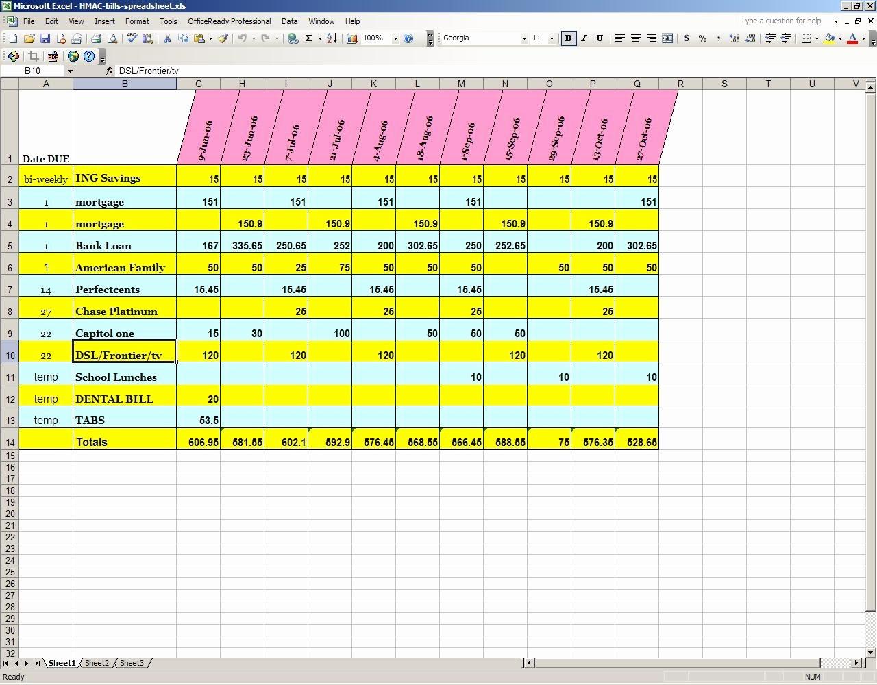 Monthly Bills Spreadsheet Template Excel Lovely Monthly Bills Spreadsheet Template