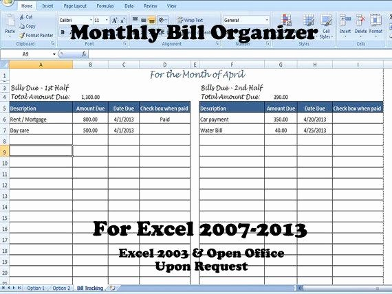 Monthly Bills Spreadsheet Template Excel New Monthly Bill organizer Bill Tracker Calculates total Due