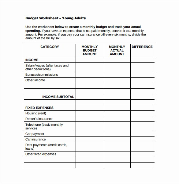 Monthly Budget Example Single Person Awesome 7 Monthly Bud Spreadsheet Templates Free Word Excel