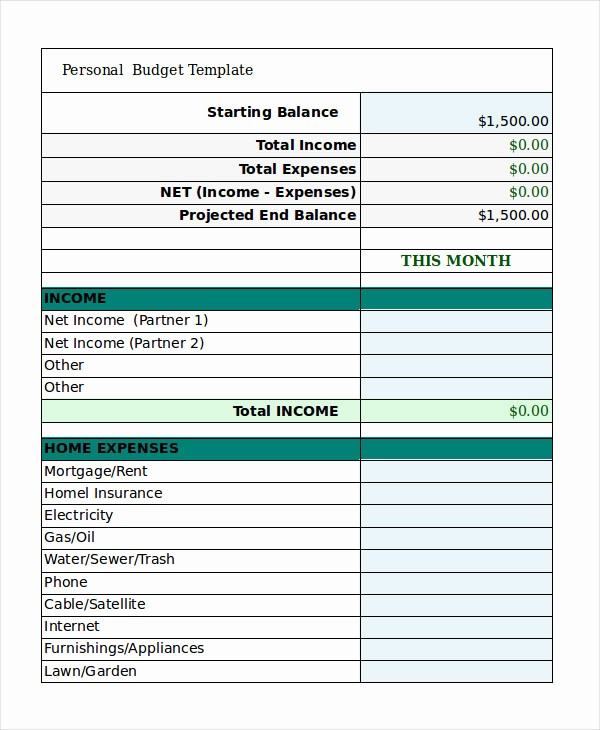 Monthly Budget Example Single Person Fresh Free Personal Bud Template 9 Free Excel Pdf