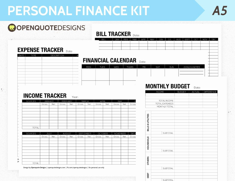 Monthly Budget Example Single Person Inspirational A5 Filofax Finance Printable Personal Finance Kit Monthly