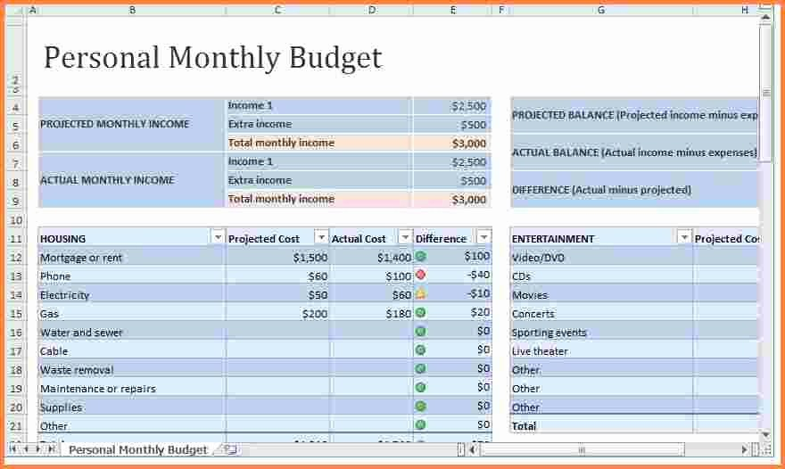 Monthly Budget Example Single Person New 8 Monthly Expenses Spreadsheet Template