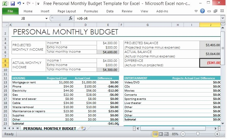 Monthly Budget Example Single Person New Free Personal Monthly Bud Template for Excel