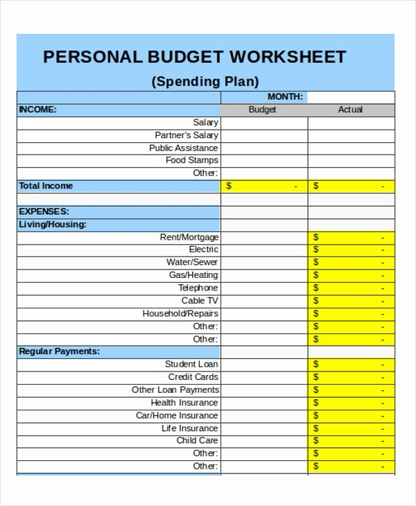 Monthly Budget Example Single Person Unique 25 Bud Templates In Excel