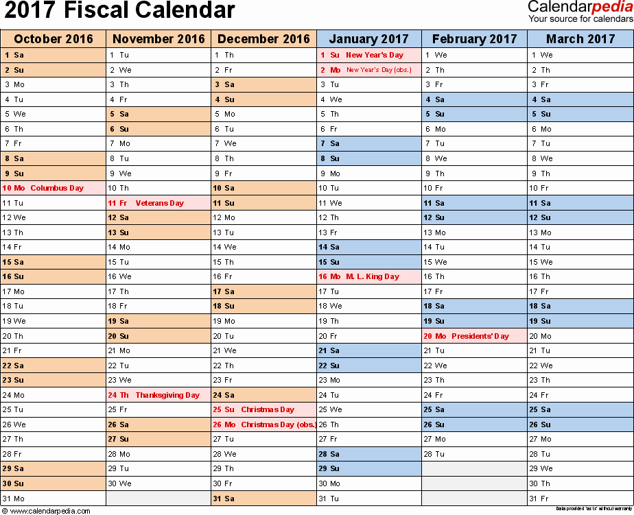 Monthly Calendar 2016-17 Beautiful Fiscal Calendars 2017 as Free Printable Pdf Templates