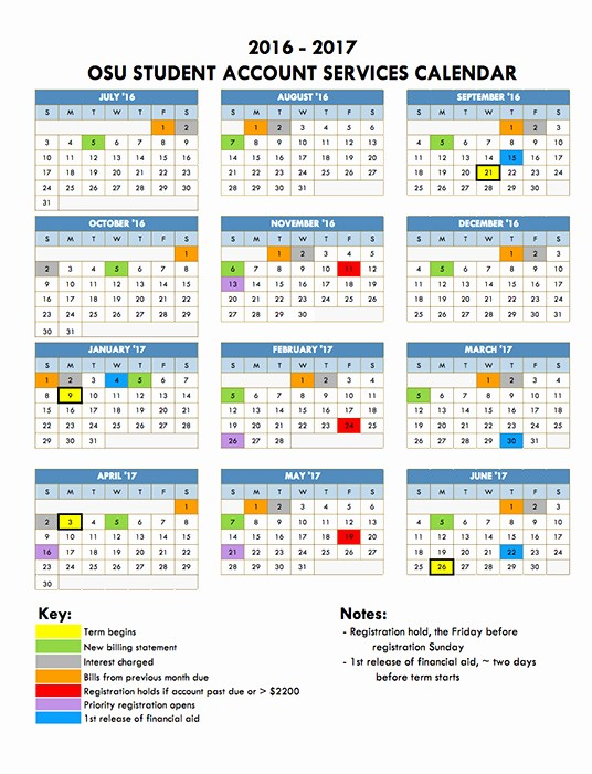 Monthly Calendar 2016-17 Best Of Billing & Payment Tuition & Financial Aid Enrollment