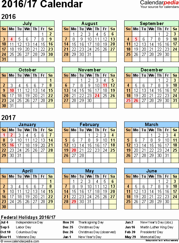 Monthly Calendar 2016-17 Best Of Split Year Calendar 2016 17 July to June Pdf Templates