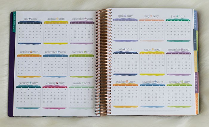 Monthly Calendar 2016-17 Fresh Planner Preview