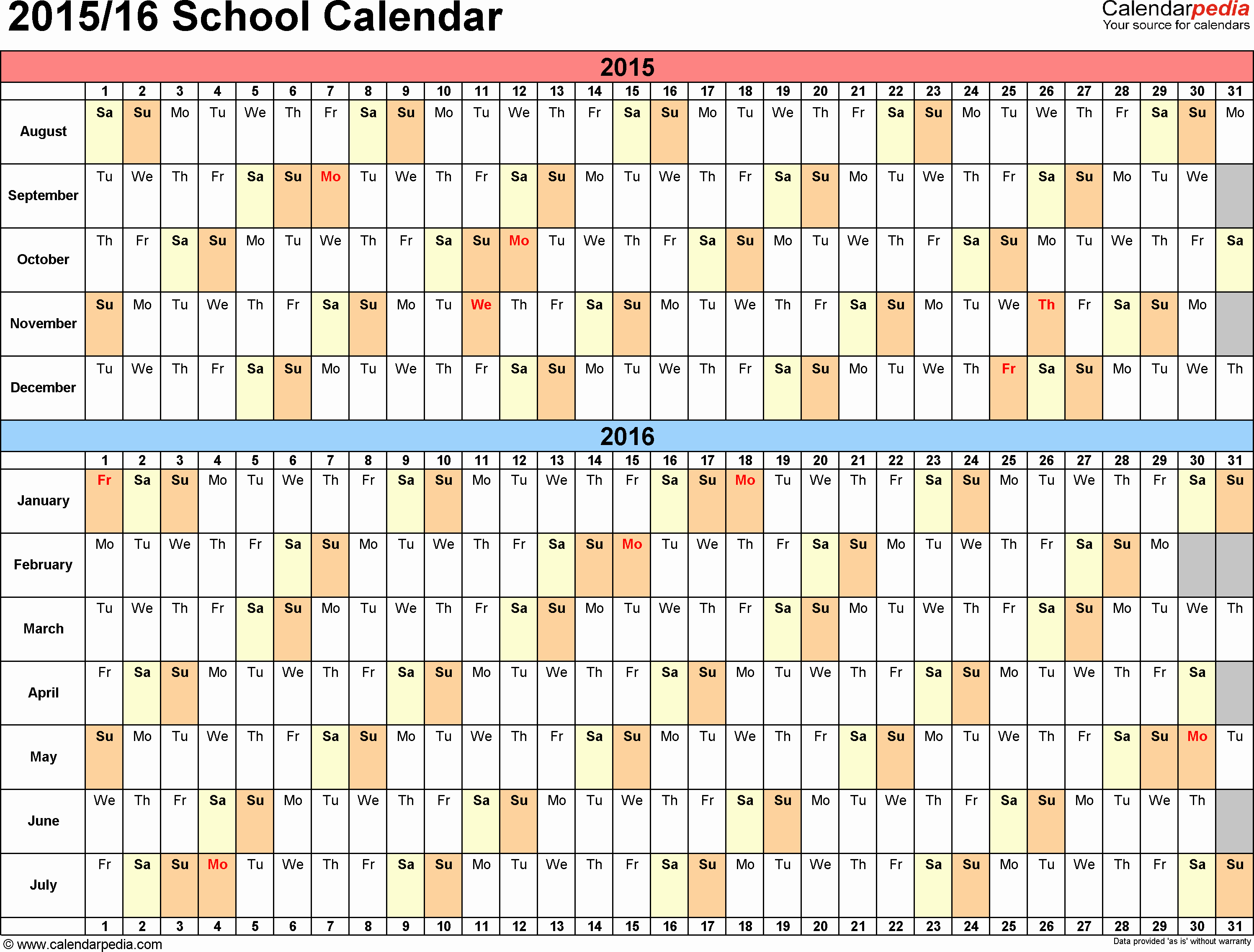 Monthly Calendar 2016-17 Fresh School Calendars 2015 2016 as Free Printable Excel Templates