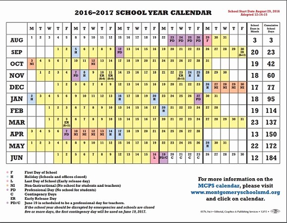 Monthly Calendar 2016-17 Inspirational 2016 Calendar with Holidays Montgomery County Md