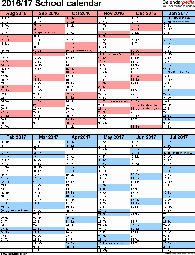 Monthly Calendar 2016-17 Lovely School Calendars 2016 2017 as Free Printable Pdf Templates