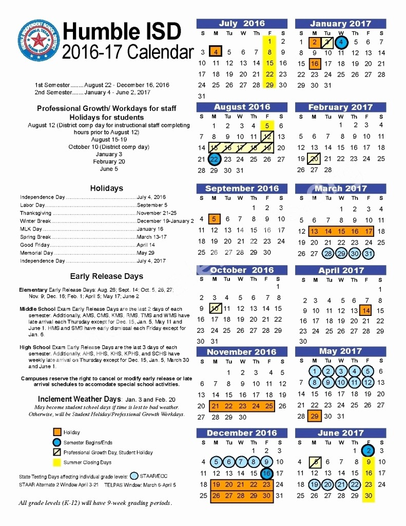 Monthly Calendar 2016-17 Luxury Humble isd 2016 17 Calendar