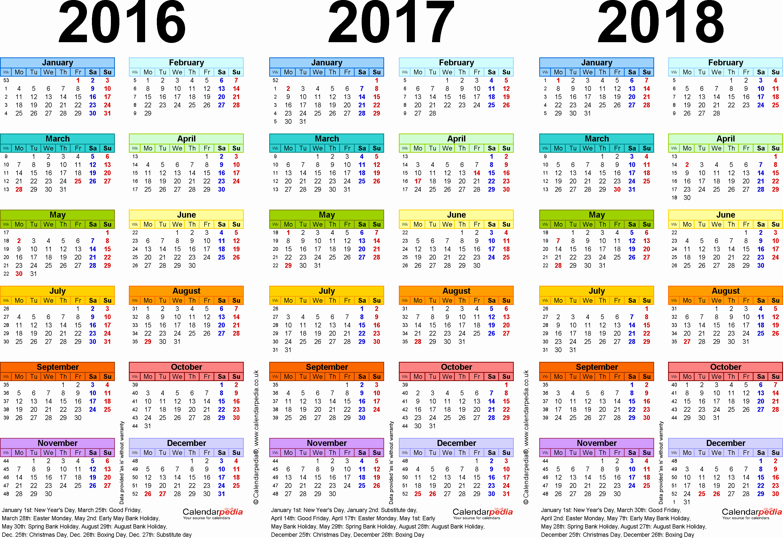 Monthly Calendar 2016-17 Unique Three Year Calendars for 2016 2017 & 2018 Uk for Pdf