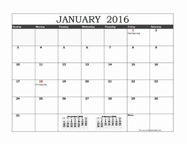 Monthly Calendar 2016 Printable Free Awesome 2016 Excel Monthly Calendar 02 Free Printable Templates