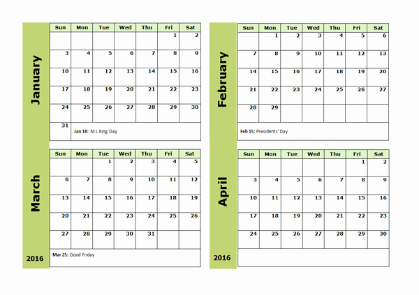 Monthly Calendar 2016 Printable Free Awesome 2016 Four Monthly Calendar Template Free Printable Templates