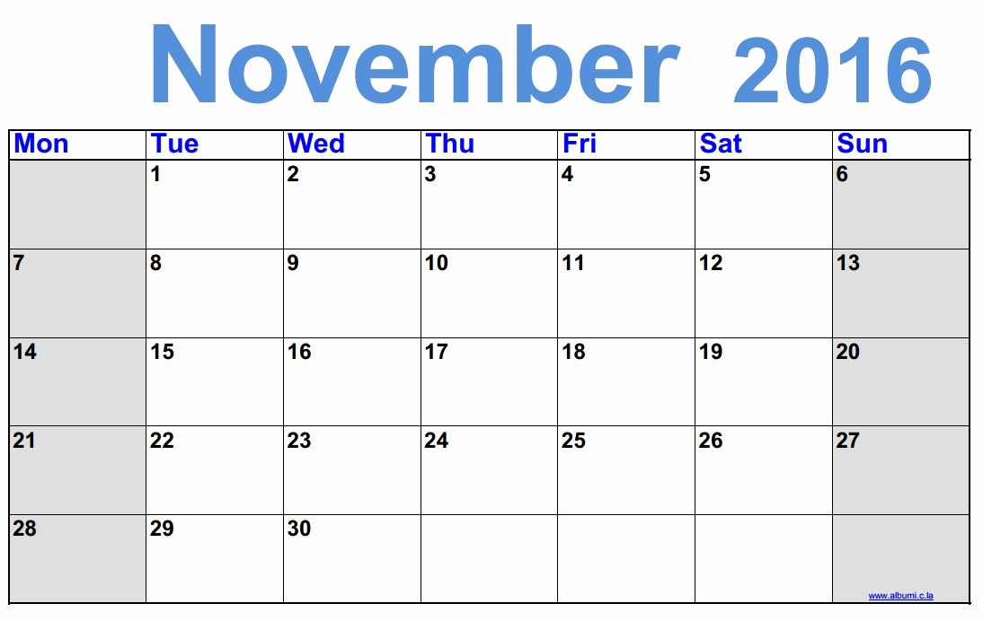 Monthly Calendar 2016 Printable Free Awesome Free Printable Monthly Calendar November 2016