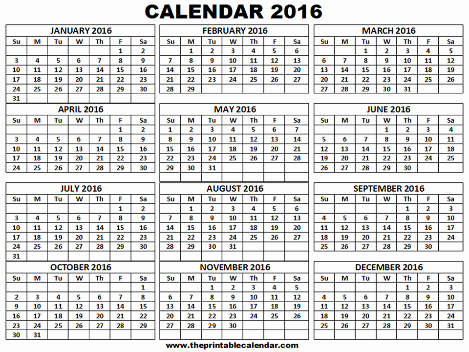 Monthly Calendar 2016 Printable Free Awesome Printable 2016 Calendar One Page 12 Month Calendar