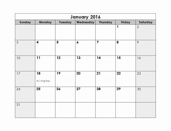 Monthly Calendar 2016 Printable Free Beautiful 2016 Monthly Calendar Free Printable Templates