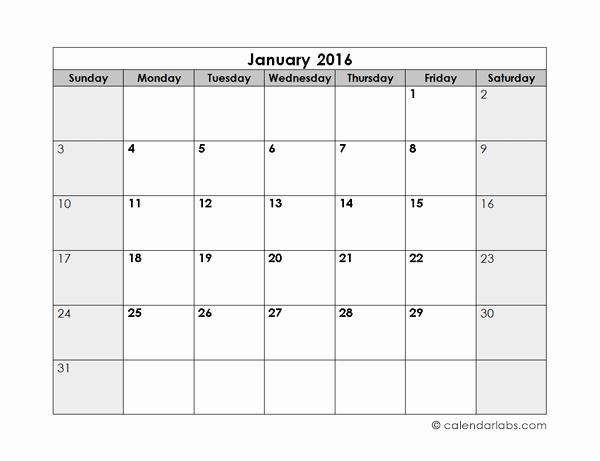 Monthly Calendar 2016 Printable Free Elegant 2016 Blank Monthly Calendar Free Printable Templates