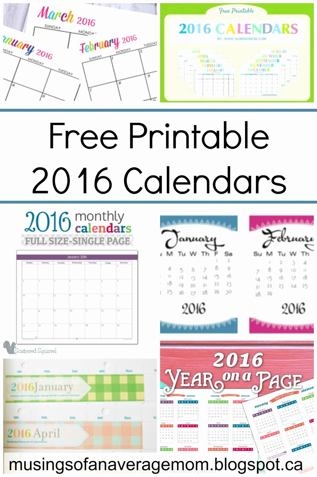 Monthly Calendar 2016 Printable Free Fresh Musings Of An Average Mom Free Printable 2016 Calendar