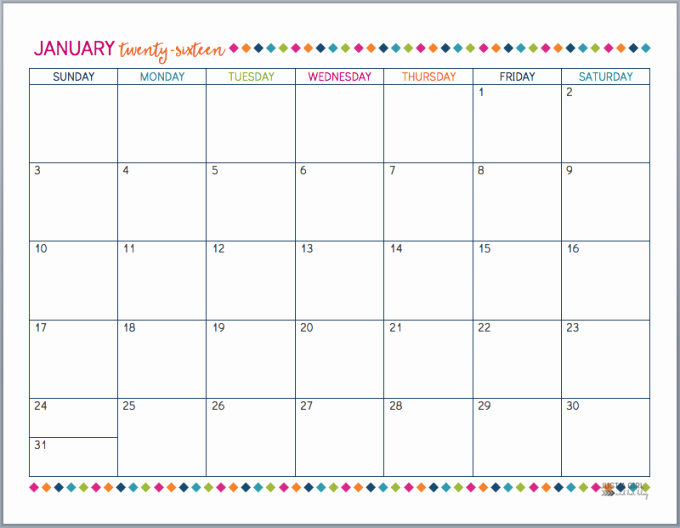 Monthly Calendar 2016 Printable Free Inspirational Printable 2016 Calendar by Month Free