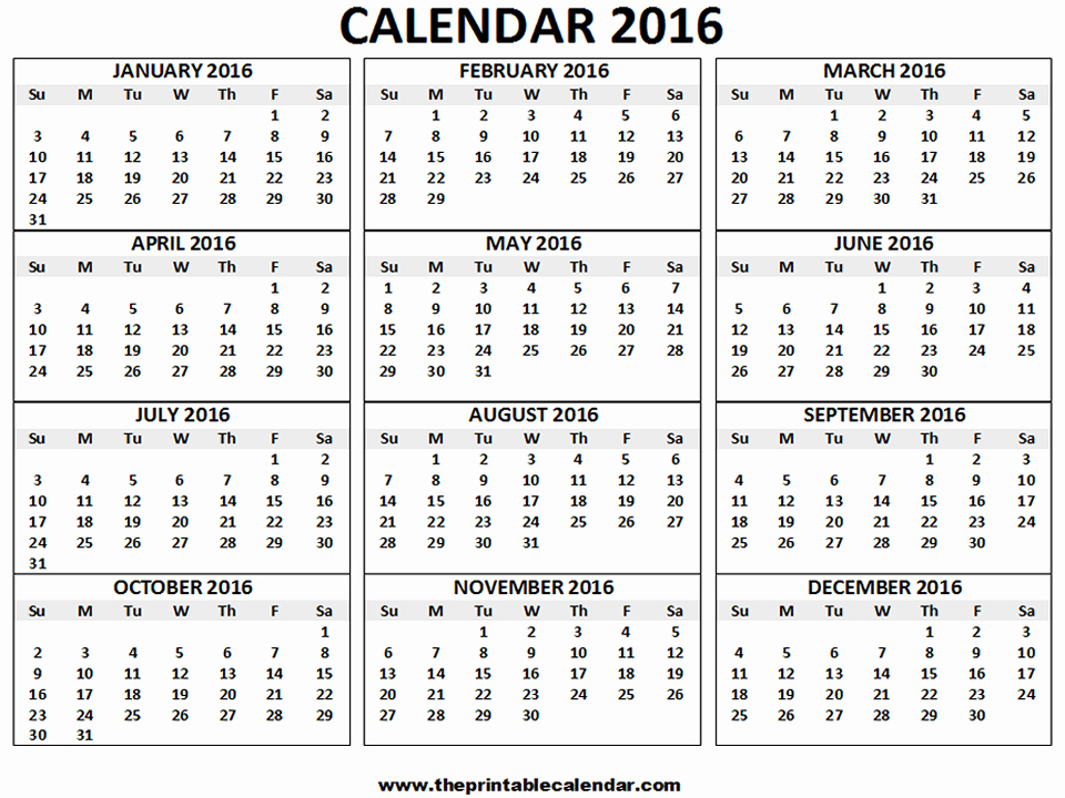 Monthly Calendar 2016 Printable Free Lovely 2016 Calendar Printable 12 Months Calendar On One Page