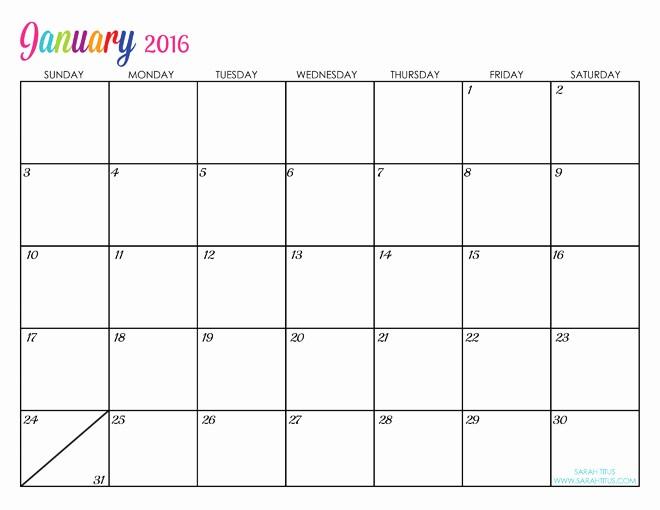 Monthly Calendar 2016 Printable Free Luxury 2016 Free Printable Calendars Lolly Jane