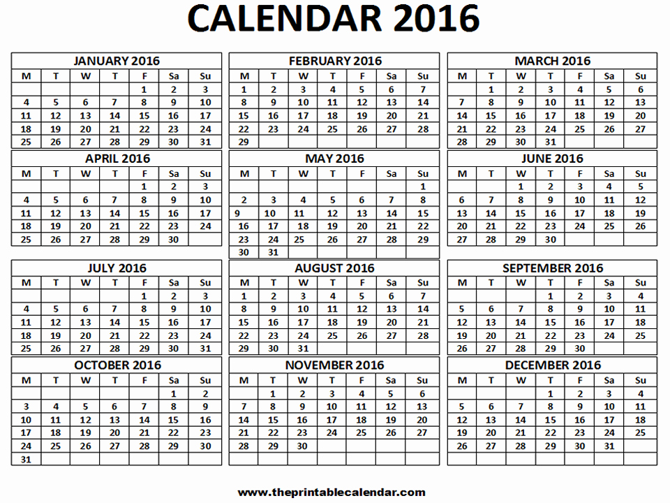 Monthly Calendar 2016 Printable Free New 2016 Calendar 12 Months Calendar On One Page Free