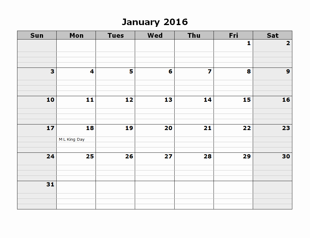 Monthly Calendar 2016 Printable Free New 2016 Monthly Calendar Template 08 Free Printable Templates