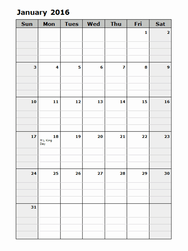 Monthly Calendar 2016 Printable Free New 2016 Monthly Calendar Template 15 Free Printable Templates