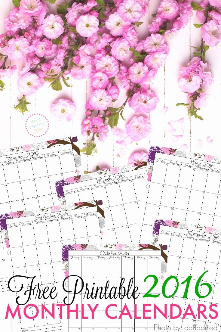 Monthly Calendar 2016 Printable Free Unique Free Printable 2016 Monthly Calendar