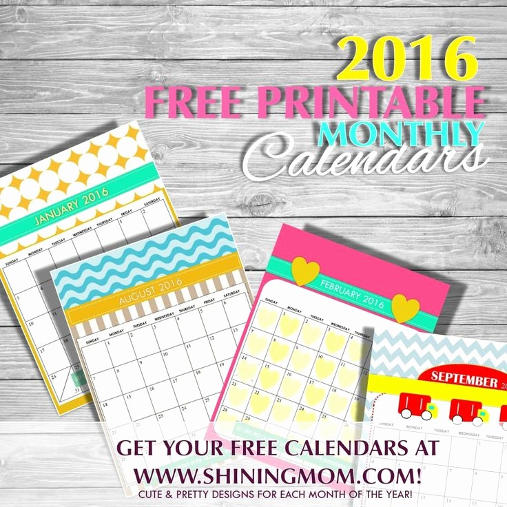 Monthly Calendar 2016 Printable Free Unique Free Printable Cute 2016 Calendars by Shining Mom