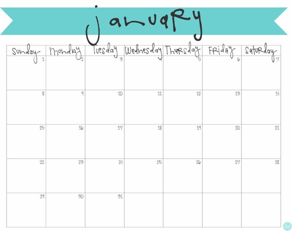 Monthly Calendar 2017 Printable Free Awesome January 2017 Calendar Free Printable