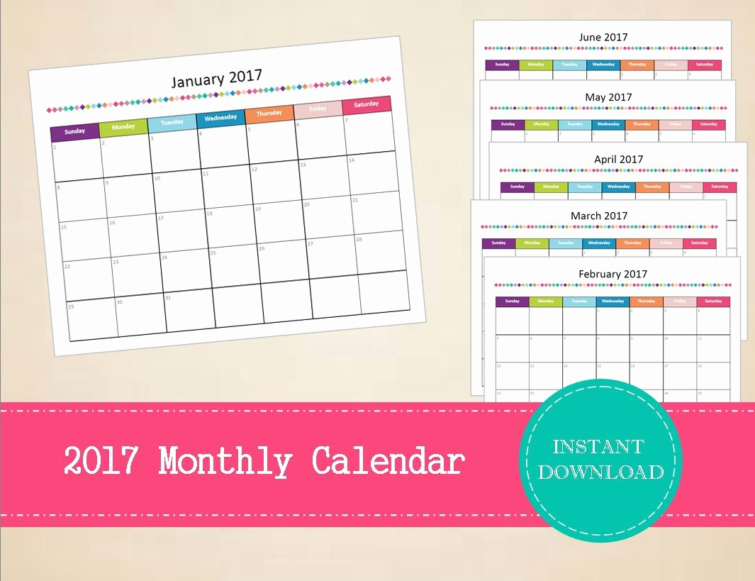 Monthly Calendar 2017 Printable Free Beautiful Printable 2017 Monthly Calendar Editable 2017 Calendar
